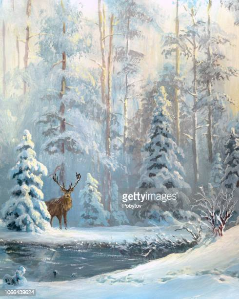 oil painted winter forest - oil painting stock illustrations