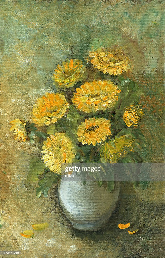 Oil painted yellow flowera arrangement : stock illustration