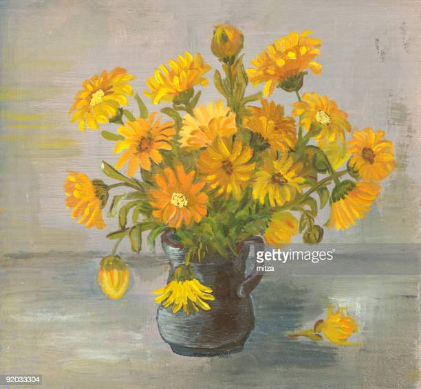 Oil painted yellow flowers arrangement in ceramic black vase.