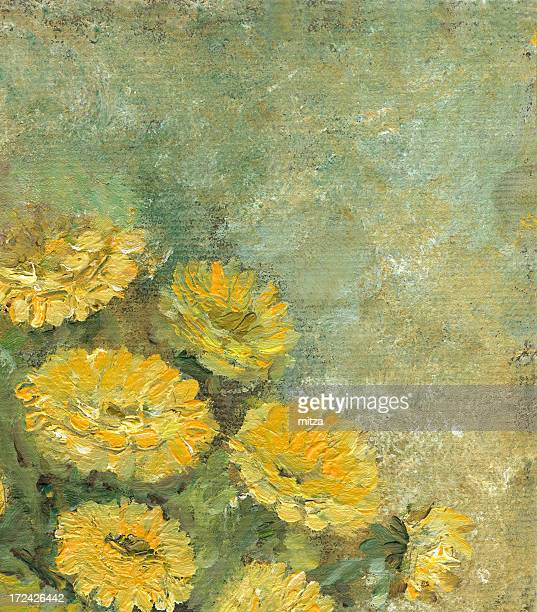 Oil painted yellow flowers frame with copyspace