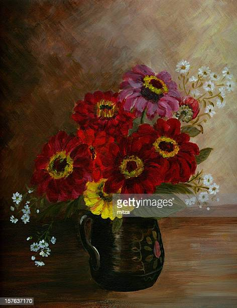 Oil painted zinnia flowers arrangement