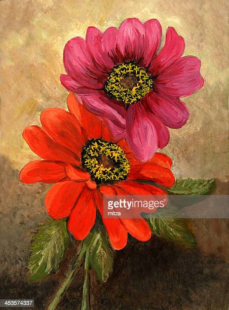 Oil painted zinnia flowers