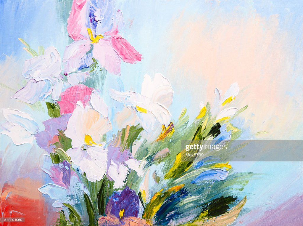 Oil Painting Abstract Bouquet Of Spring Flowers Colorful