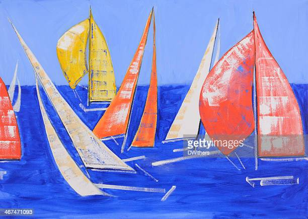 oil painting - colourful yachts at sea - sail stock illustrations, clip art, cartoons, & icons