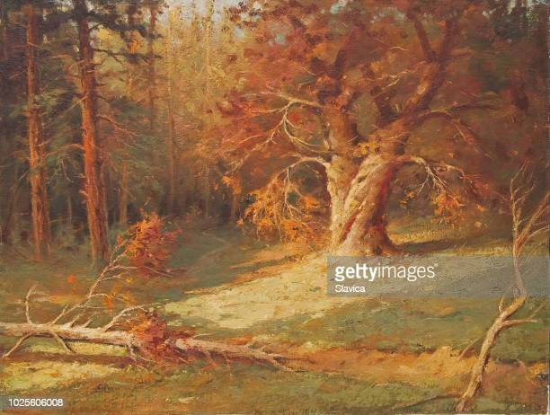 oil painting - deep forest - horizontal stock illustrations