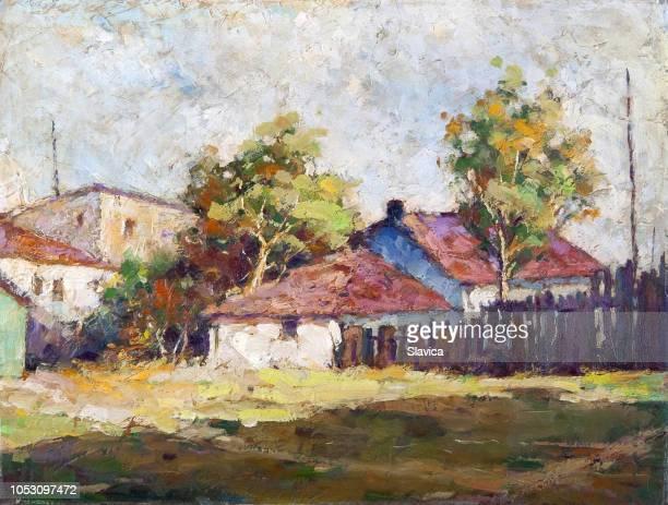 Olieverf schilderij - huizen in het dorp