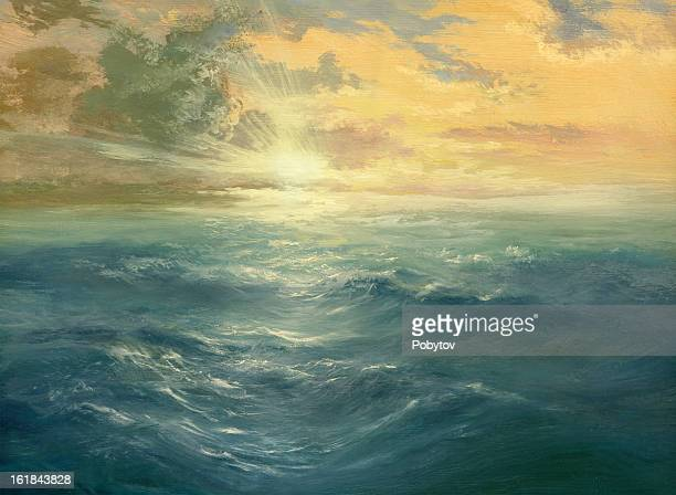 oil painting of a sunset over the ocean - painting activity stock illustrations, clip art, cartoons, & icons