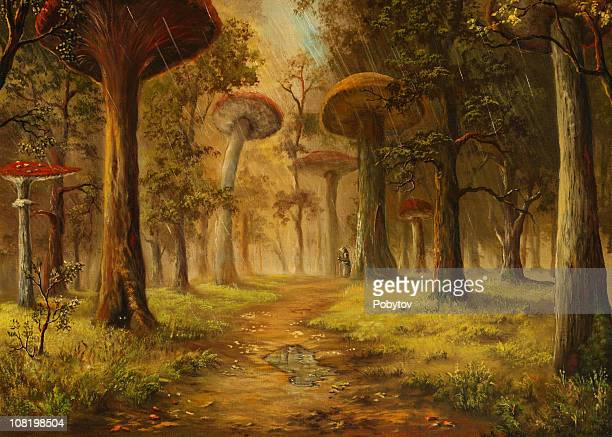 oil painting of mushroom forest during rain - surrealism stock illustrations