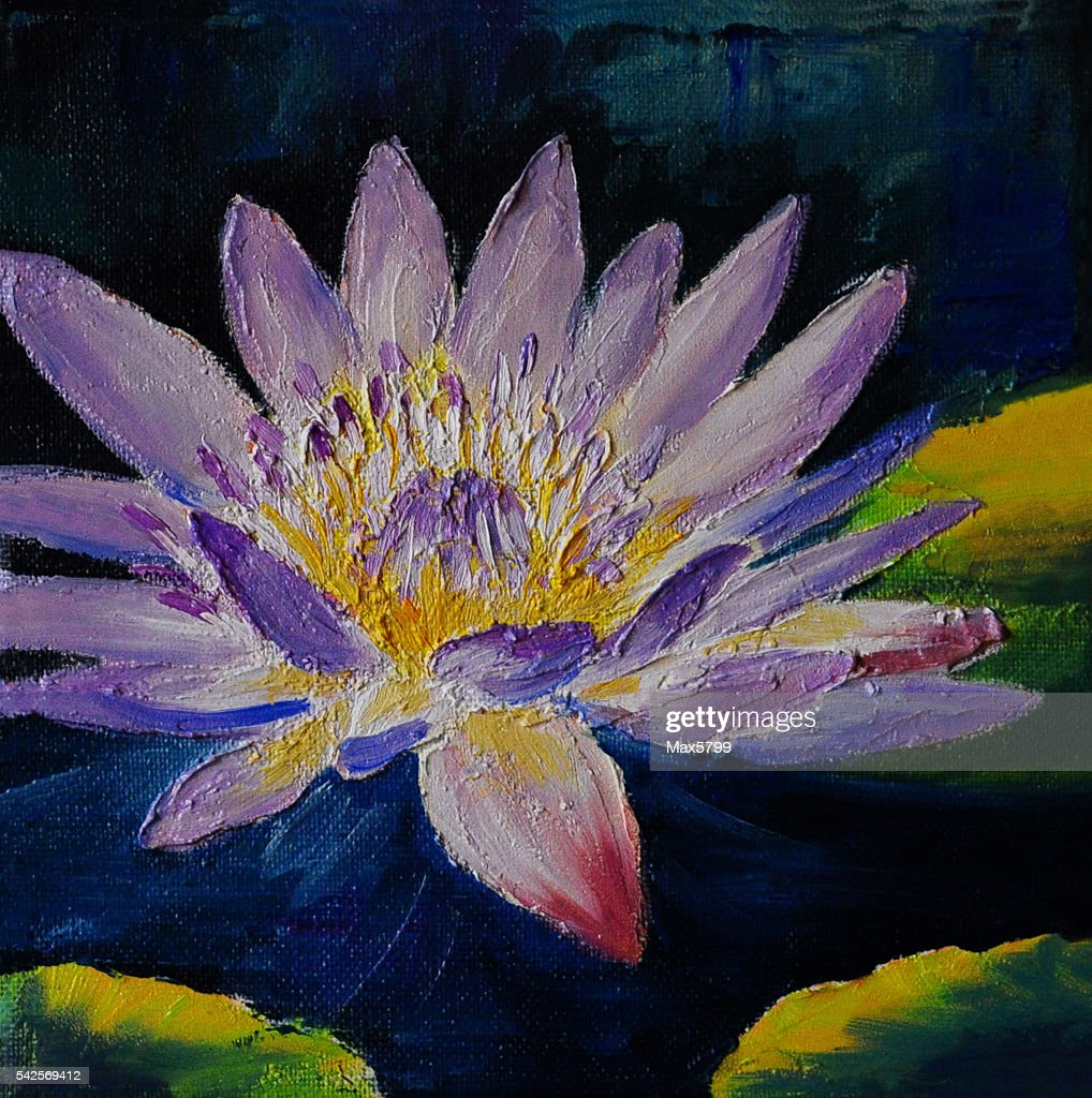 Oil Painting Purple Lotus Flower Abstract Drawing Stock Illustration