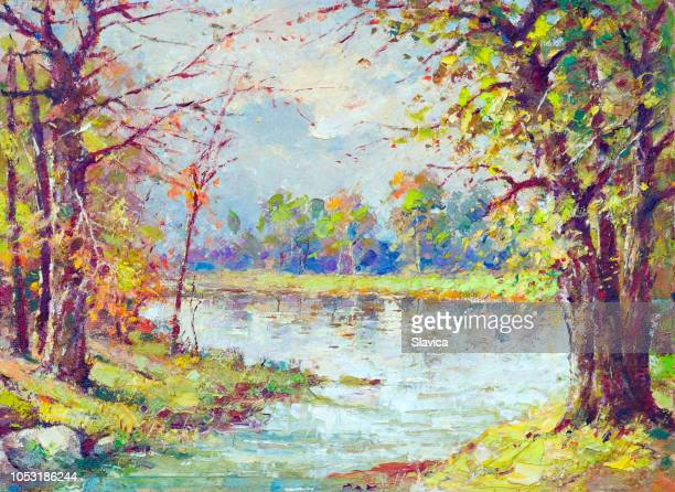 oil painting - river in the autumn - impressionism stock illustrations