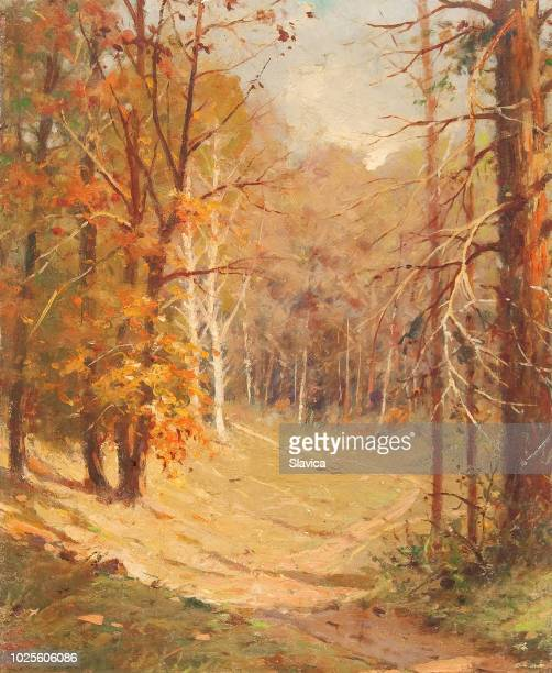oil painting - road through the forest - oil painting stock illustrations
