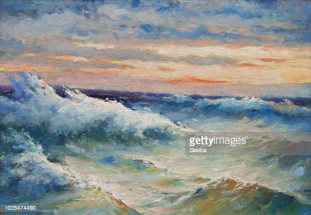 oil painting - sea waves during storm - impressionism stock illustrations