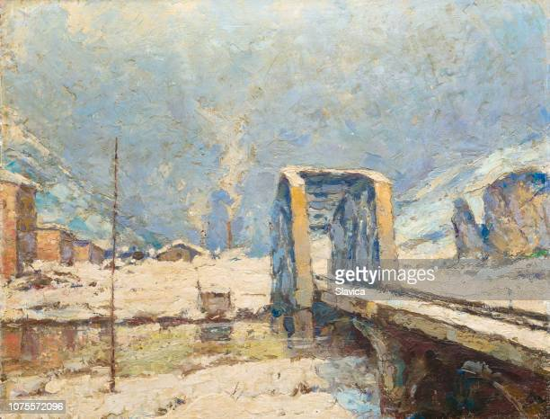 Oil painting showing bridge over river in winter.