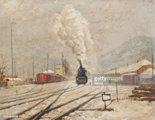 oil painting - steam locomotive in winter snow - oil painting stock illustrations