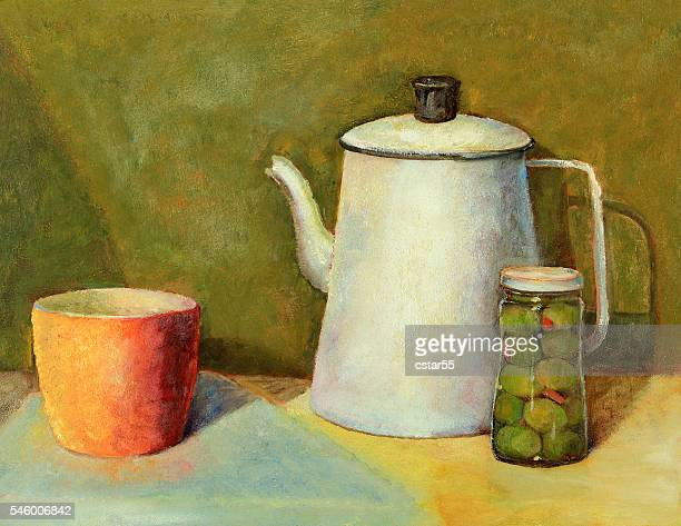 Oil painting still life of a coffee pot, cup, jar