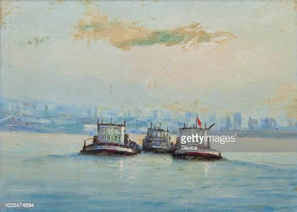 油絵 - 海のタグボート