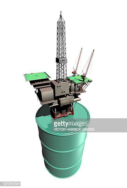 oil rig, conceptual artwork - petrochemical plant stock illustrations, clip art, cartoons, & icons