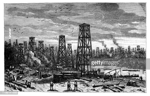 oil rigs in forest united states 1888 - oil pump stock illustrations, clip art, cartoons, & icons