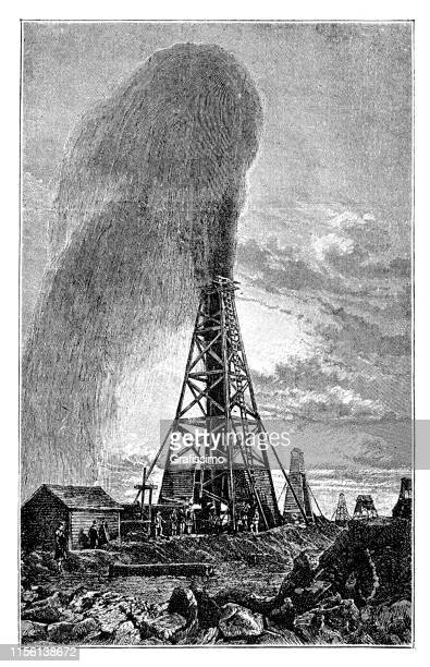 oil rigs in texas united states 1888 - drilling rig stock illustrations, clip art, cartoons, & icons