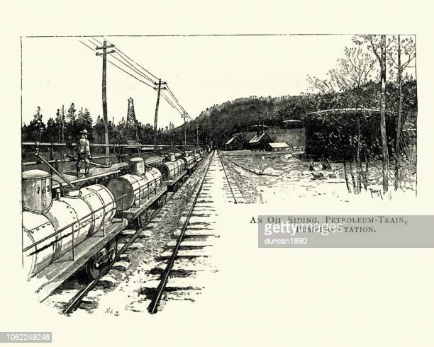 oil siding and patroleum train, pennsylvania, 19th century - rail freight stock illustrations, clip art, cartoons, & icons