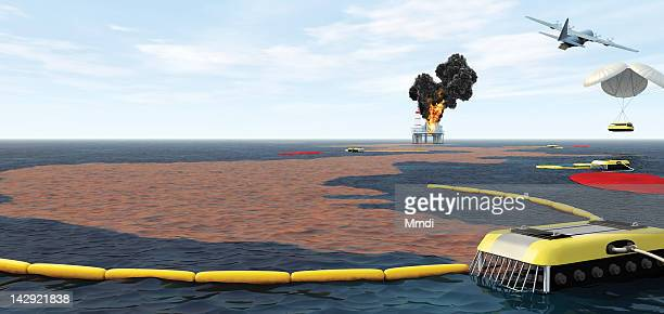 oil spill recovery - automated stock illustrations