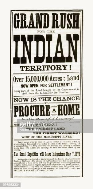 Oklahoma Land Rush Advertisement Engraving, 1879