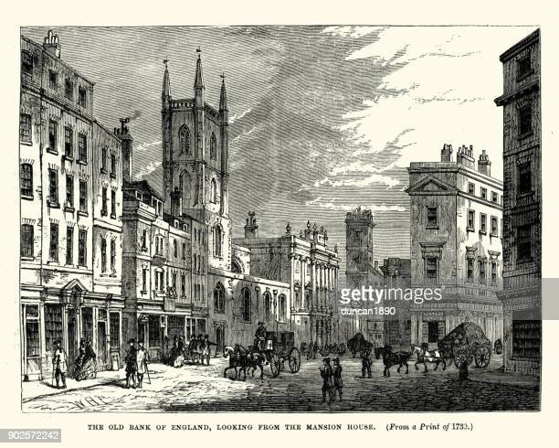 old bank of england, london, 18th century - 18th century stock illustrations