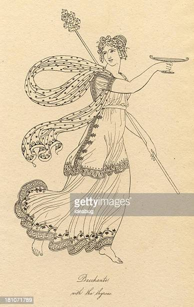 old black and white illustration of bacchante with the thyrsus - corinthian stock illustrations, clip art, cartoons, & icons