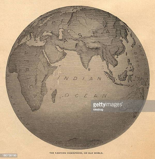 old, black and white illustration of eastern hemisphere, from 1800's - historical document stock illustrations, clip art, cartoons, & icons