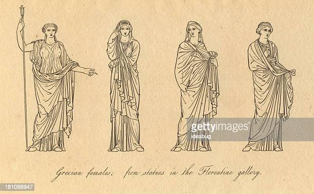 Old Black and White Illustration of Grecian Female Costumes