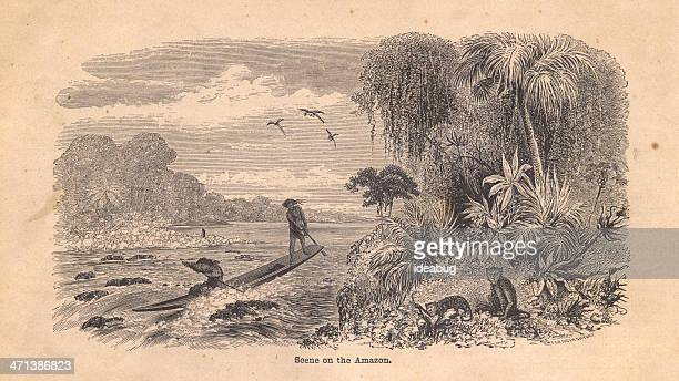 Old Black and White Illustration of Scene on Amazon River