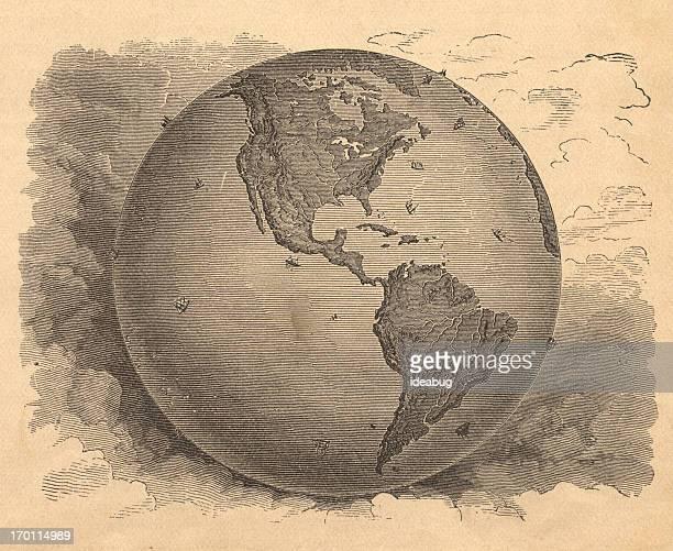 illustrations, cliparts, dessins animés et icônes de old, noir et blanc carte de l'hémisphère occidental, depuis des années 1800 - hémisphère