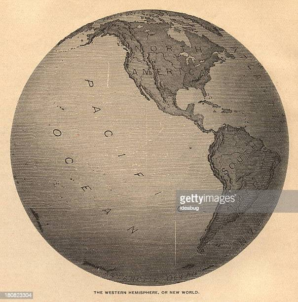 Old, Black and White Map of Western Hemisphere, From 1800's