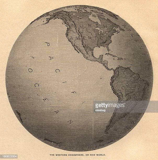 古い、ブラックとホワイトの地図オオバ半球、1800 年代から