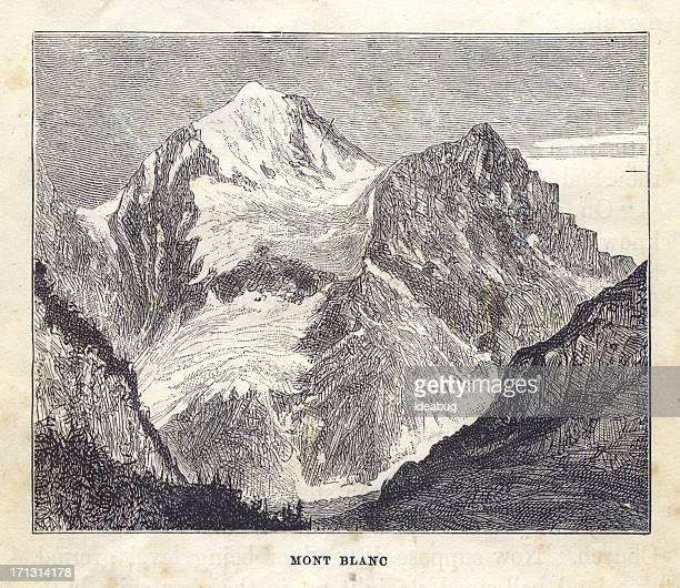 old, black/white illustration of mont blanc, 1881 - mont blanc stock illustrations, clip art, cartoons, & icons