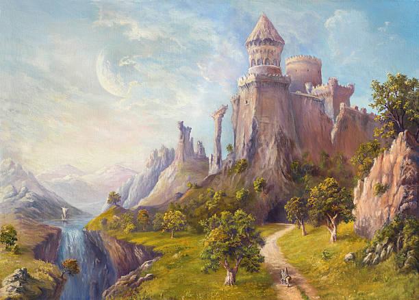 old castle - fantasy stock illustrations
