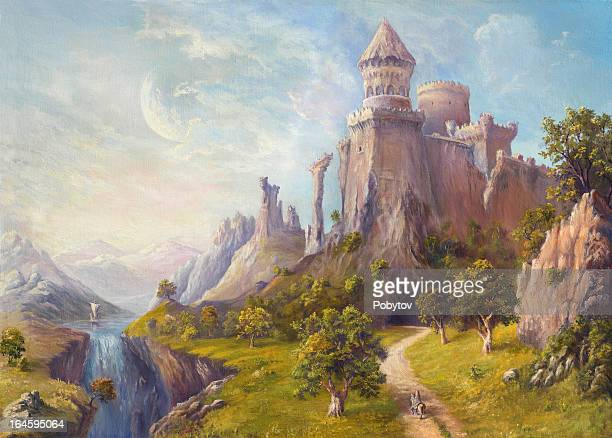 old castle - fantasy stock illustrations