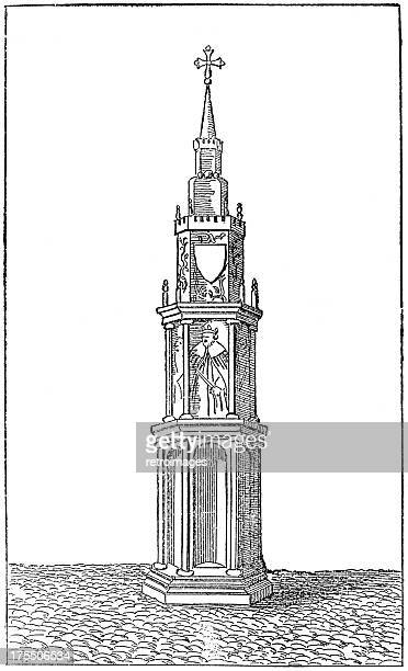 old charing (eleanor) cross, london, 13th century (illustration) - st mary le bow church stock illustrations