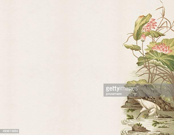 old chinese painting - crane bird stock illustrations