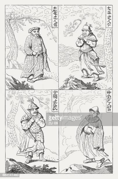 Old Chinese peoples, after an ancient chinese woodcut, published 1880