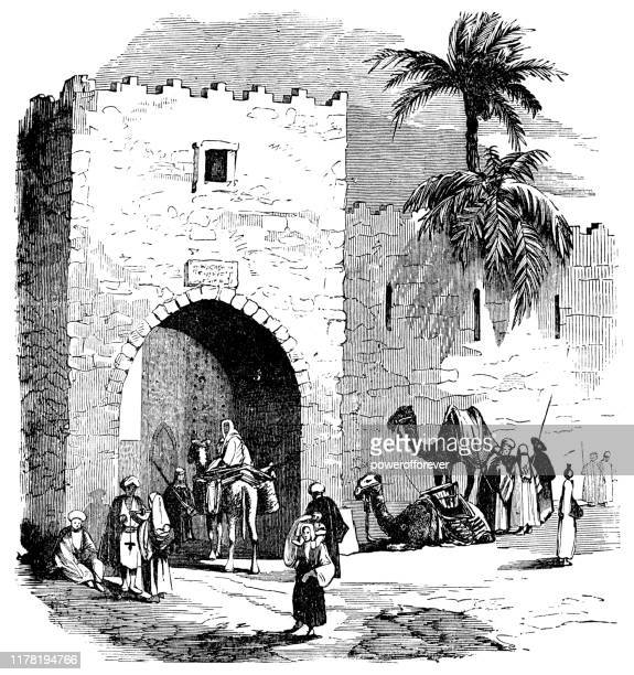 old city gate in beirut, lebanon - ottoman empire 19th century - ottoman empire stock illustrations
