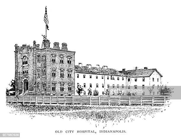 old city hospital in indianapolis in indiana - indianapolis stock illustrations, clip art, cartoons, & icons