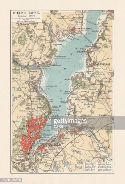 Old city map of Kiel, Schleswig-Holstein, Germany, lithograph, published 1897