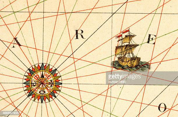 old compass rose and ship - 16th century style stock illustrations