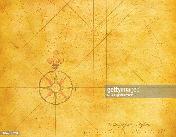 old compass rose (high resolution image) - west direction stock illustrations