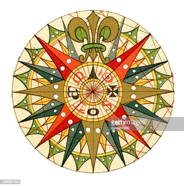 旧コンパスローズ」 - 円形方位図点のイラスト素材/クリップアート素材/マンガ素材/アイコン素材