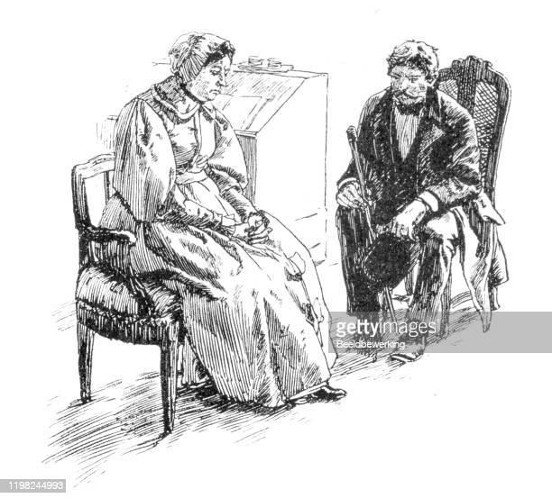 ilustrações, clipart, desenhos animados e ícones de casal velho esperando em silêncio - sunday best