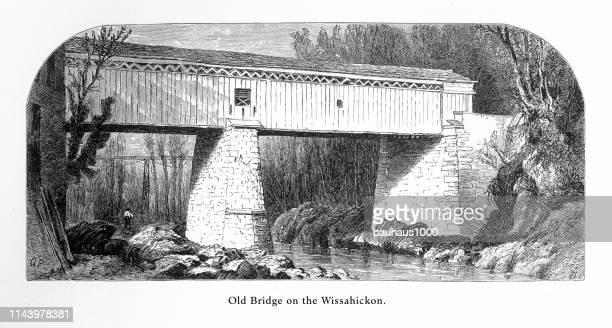 old covered bridge on the wissahickon, philadelphia, pennsylvania, united states, american victorian engraving, 1872 - covered bridge stock illustrations