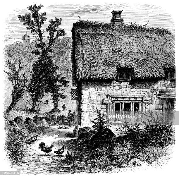Old English country cottage (Victorian engraving)