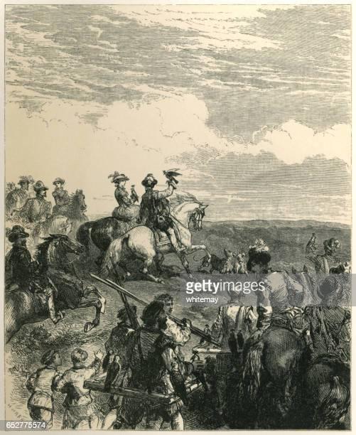 old english pastimes - hawking - falconry stock illustrations